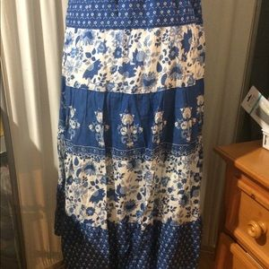 Tiered peasant A line skirt